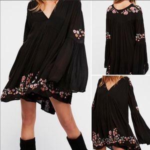 Free People Te Amo Bell Sleeve Black Mini Dress XS